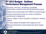fy 2012 budget outlines performance management process