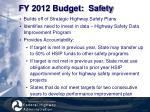 fy 2012 budget safety