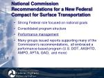 national commission recommendations for a new federal compact for surface transportation