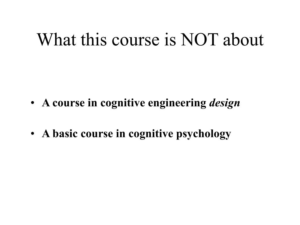 What this course is NOT about