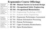 ergonomics course offerings