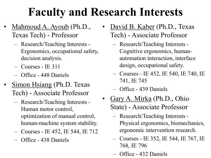 Faculty and research interests