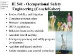 ie 541 occupational safety engineering couch kaber