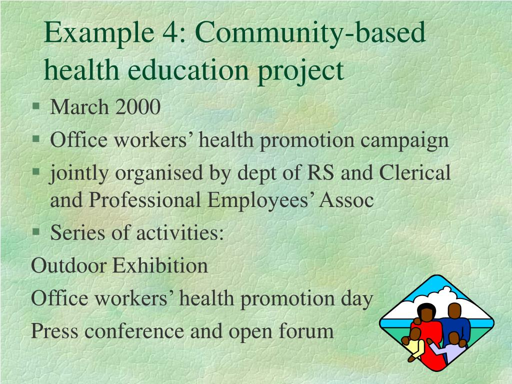 Example 4: Community-based health education project