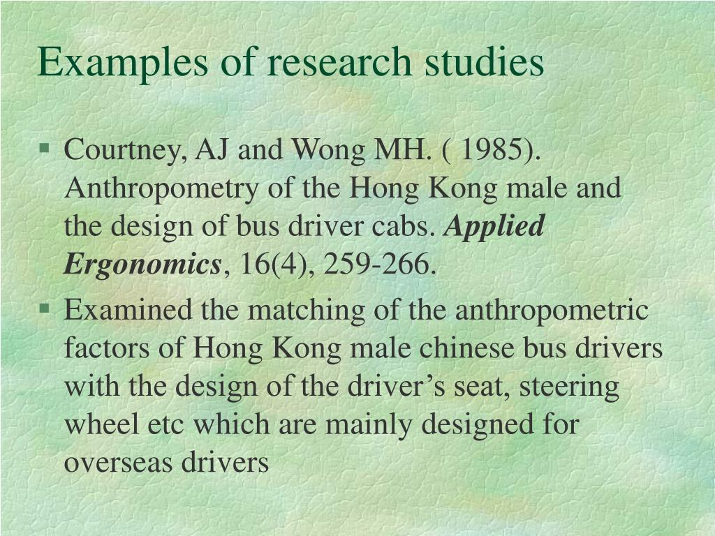 Examples of research studies