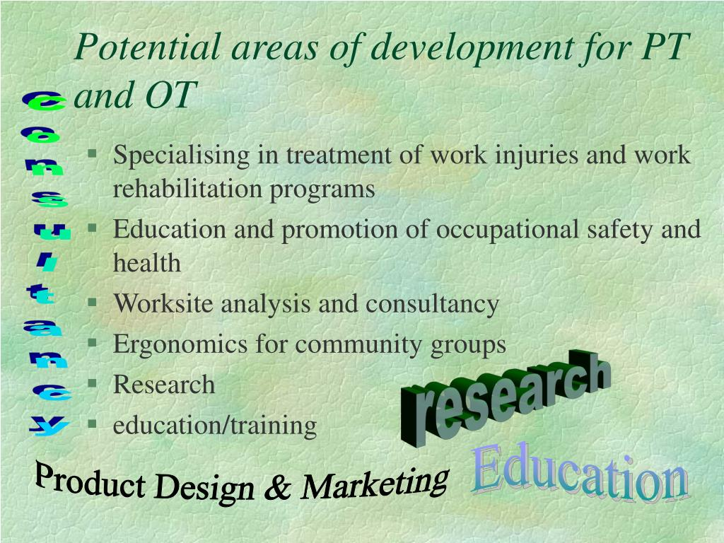 Potential areas of development for PT and OT