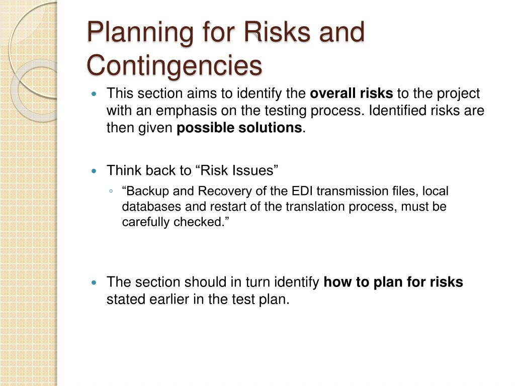 Planning for Risks and Contingencies