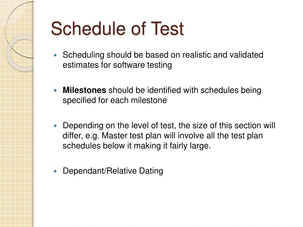 Schedule of Test