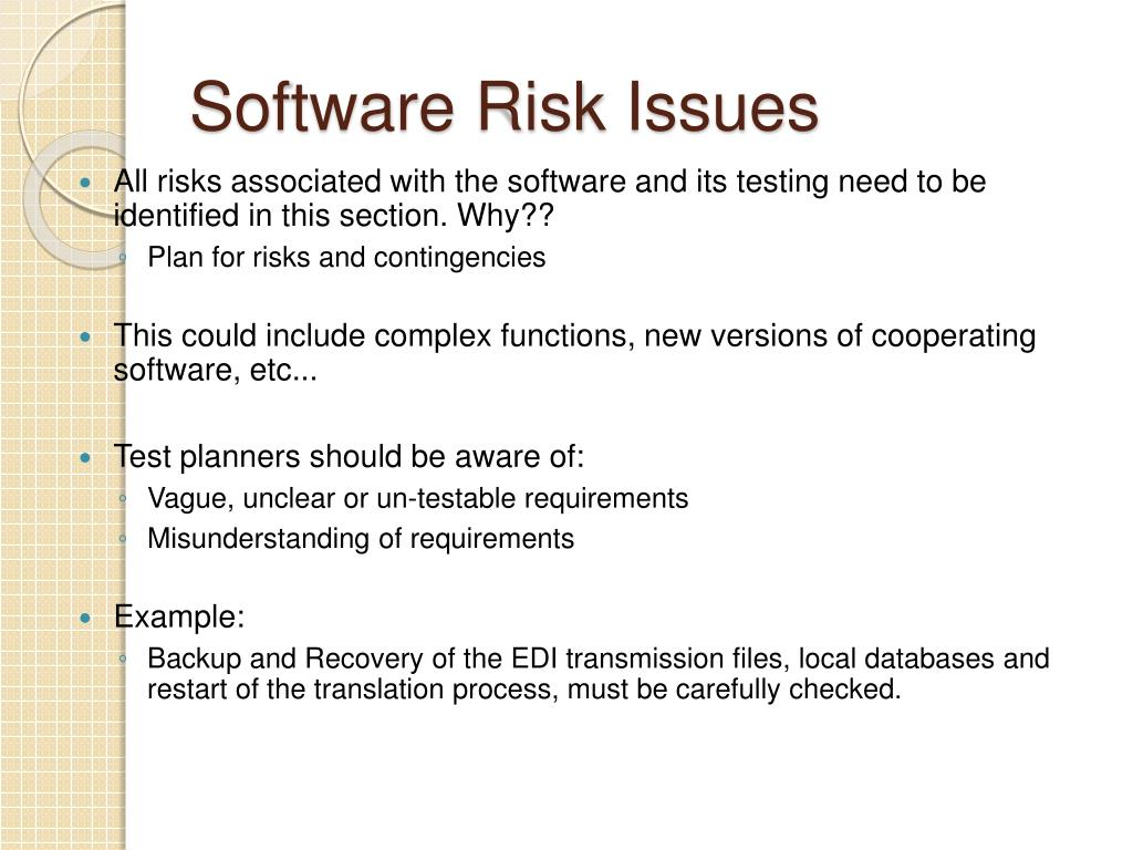 Software Risk Issues