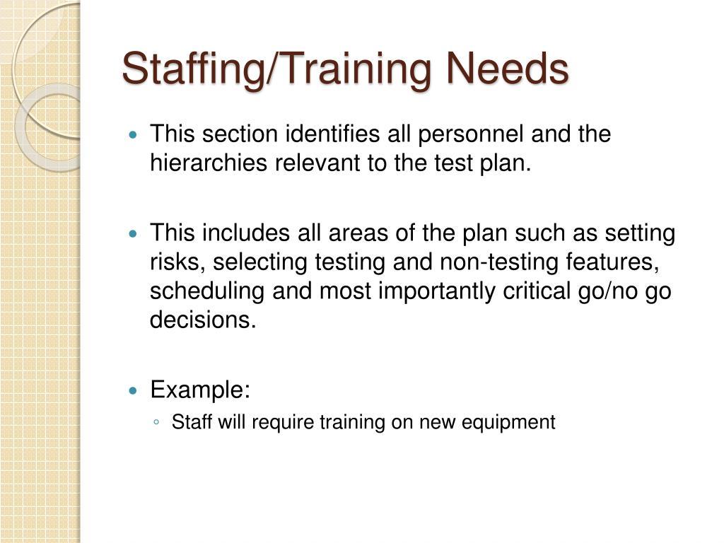 Staffing/Training Needs
