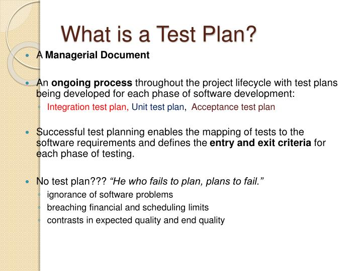 What is a test plan
