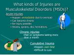 what kinds of injuries are musculoskeletal disorders msds