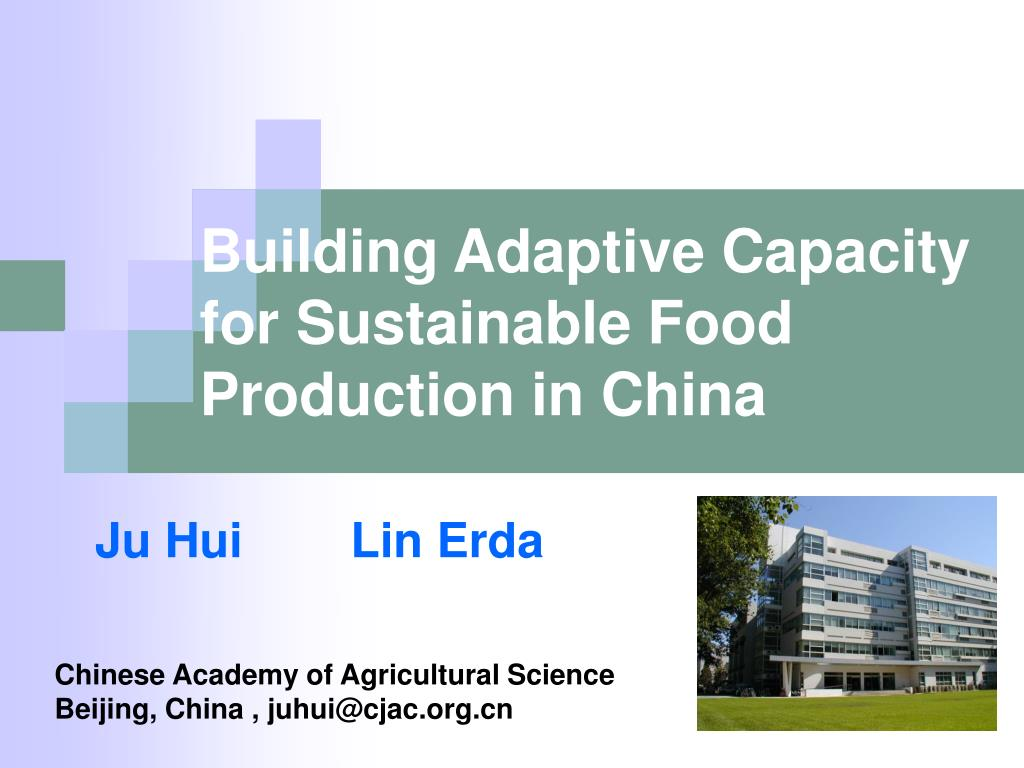 building adaptive capacity for sustainable food production in china l.