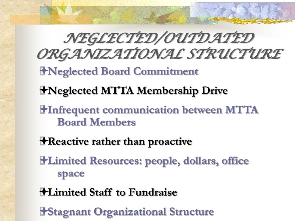 NEGLECTED/OUTDATED ORGANIZATIONAL STRUCTURE