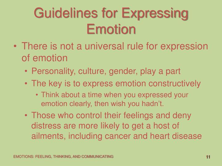 guidelines to express ones emotions Teaching your child to: identify and express emotions the center on the  social and emotional foundations for early learning vanderbilt university.