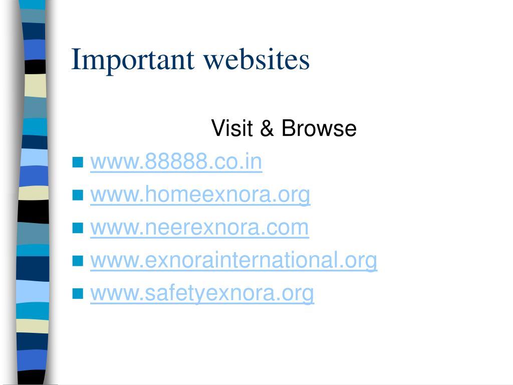 Important websites