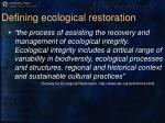 defining ecological restoration