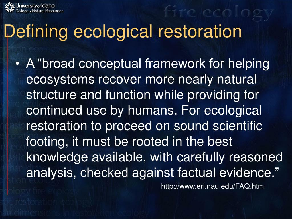 Defining ecological restoration