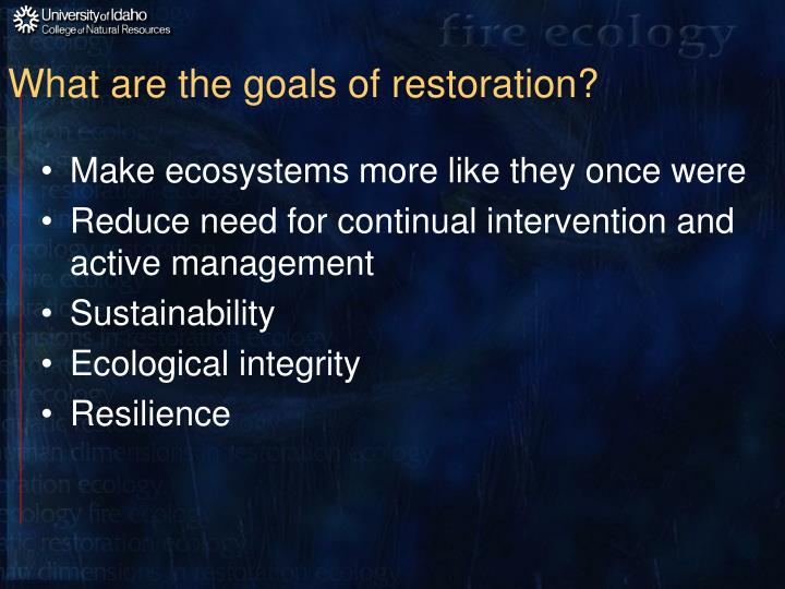 What are the goals of restoration