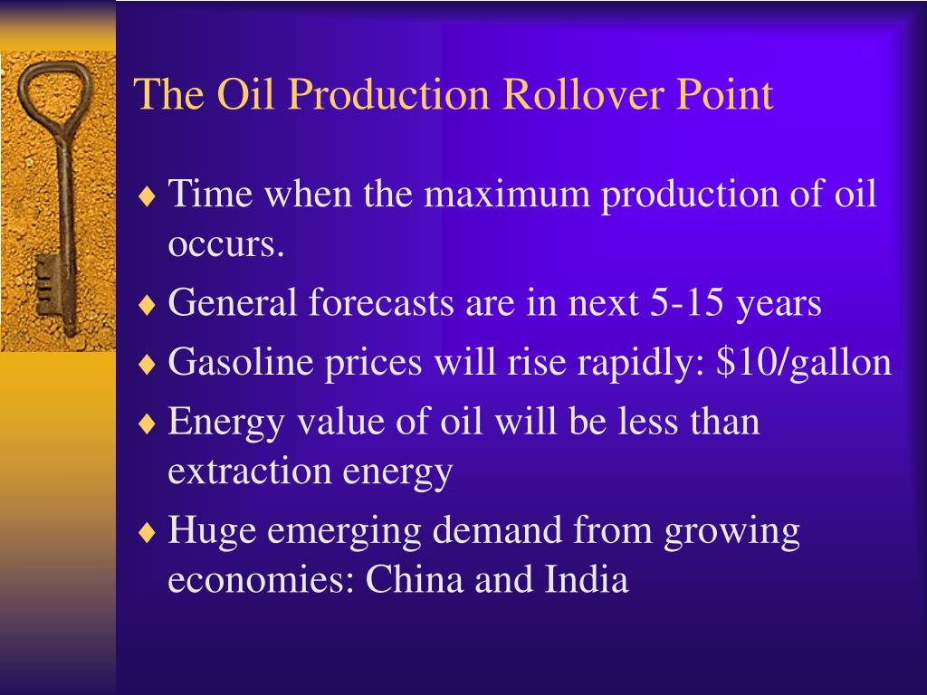 The Oil Production Rollover Point