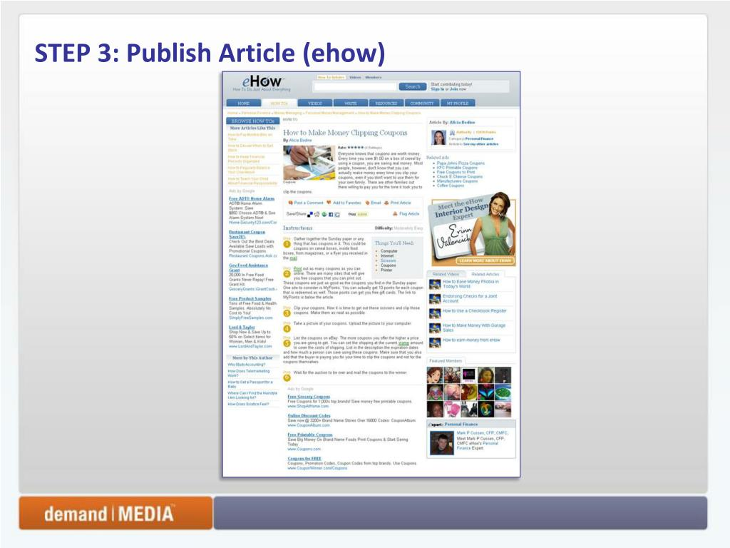 STEP 3: Publish Article (ehow)