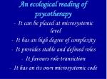 an ecological reading of psycotherapy