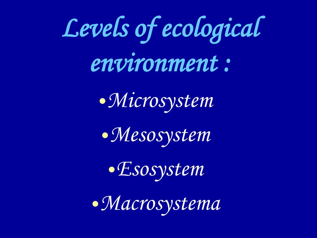 Levels of ecological  environment :