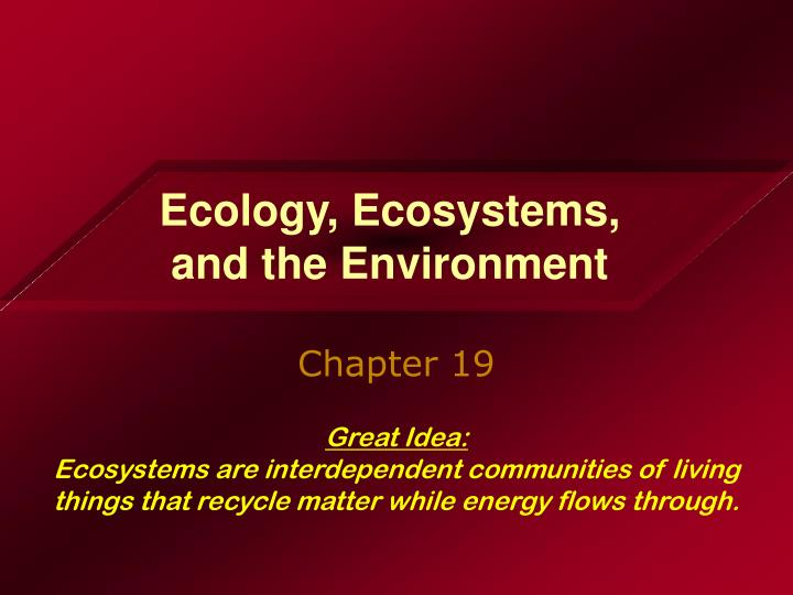 ecology ecosystems and the environment n.