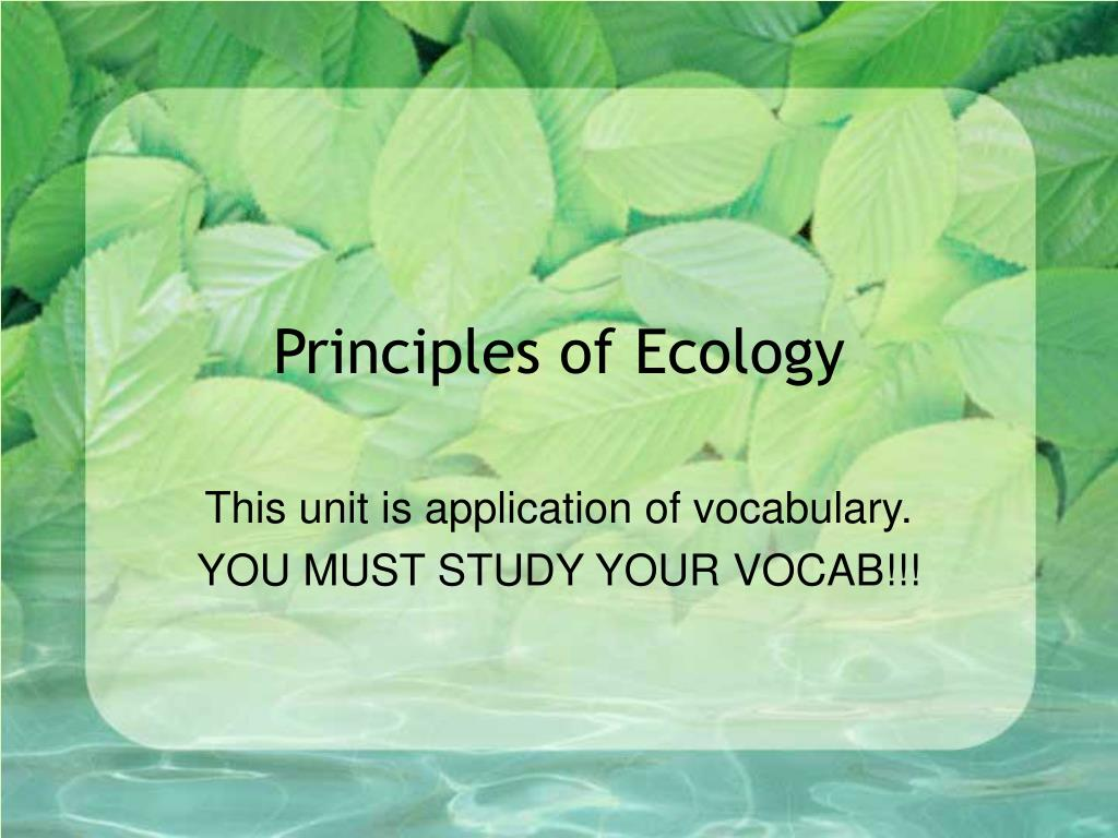 principles of ecology l.