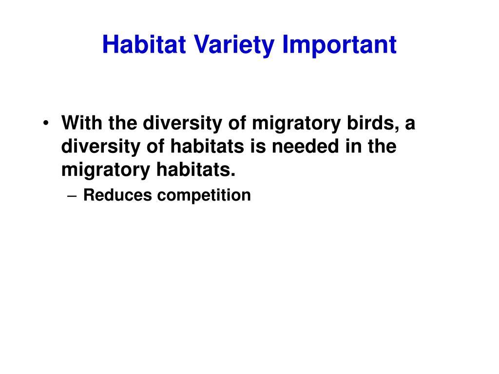 Habitat Variety Important