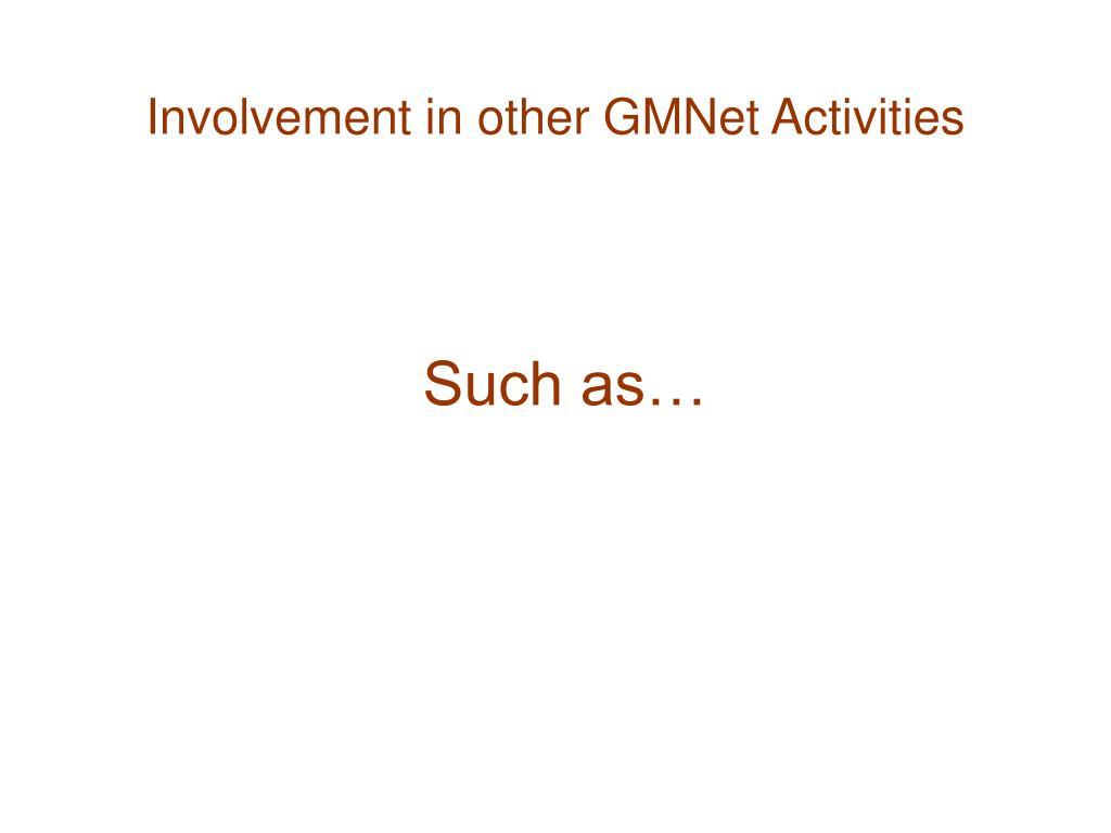 Involvement in other GMNet Activities