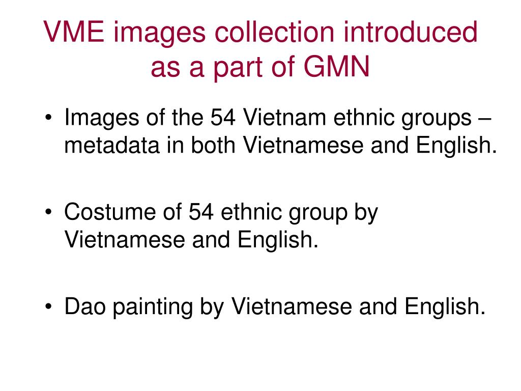 VME images collection introduced as a part of GMN