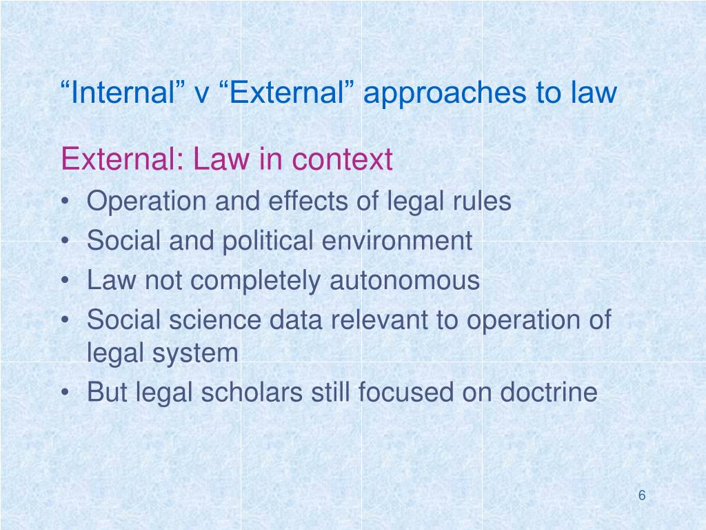 """""""Internal"""" v """"External"""" approaches to law"""