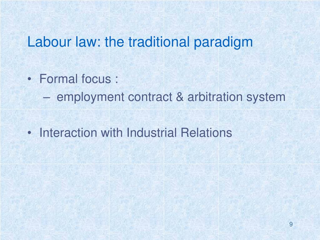 Labour law: the traditional paradigm