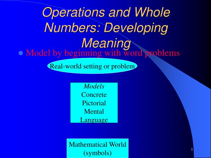 Operations and whole numbers developing meaning