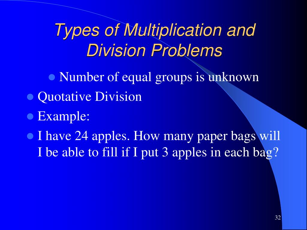 Types of Multiplication and Division Problems