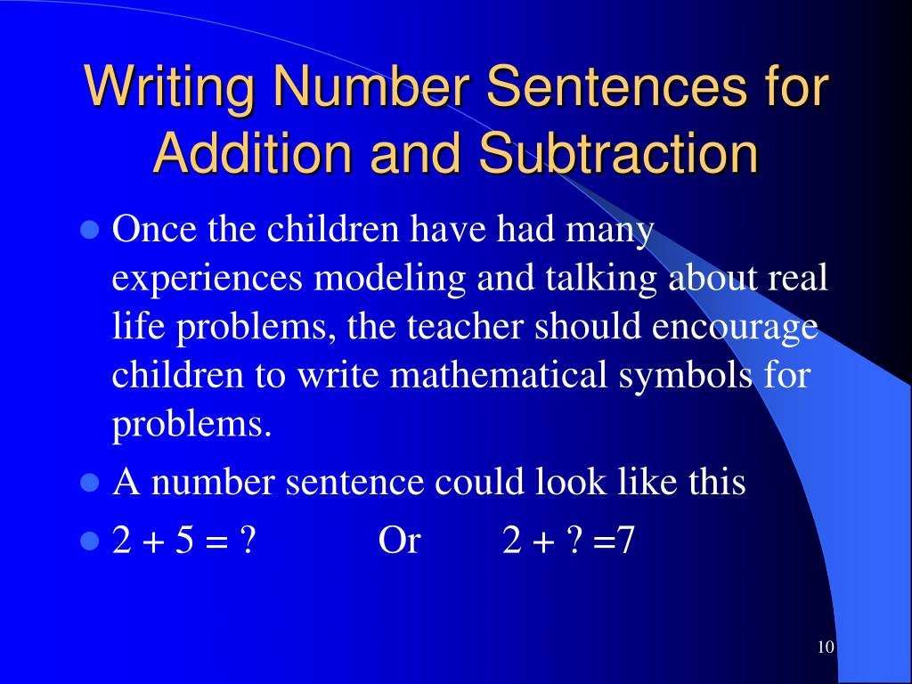 Writing Number Sentences for Addition and Subtraction