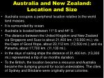australia and new zealand location and size