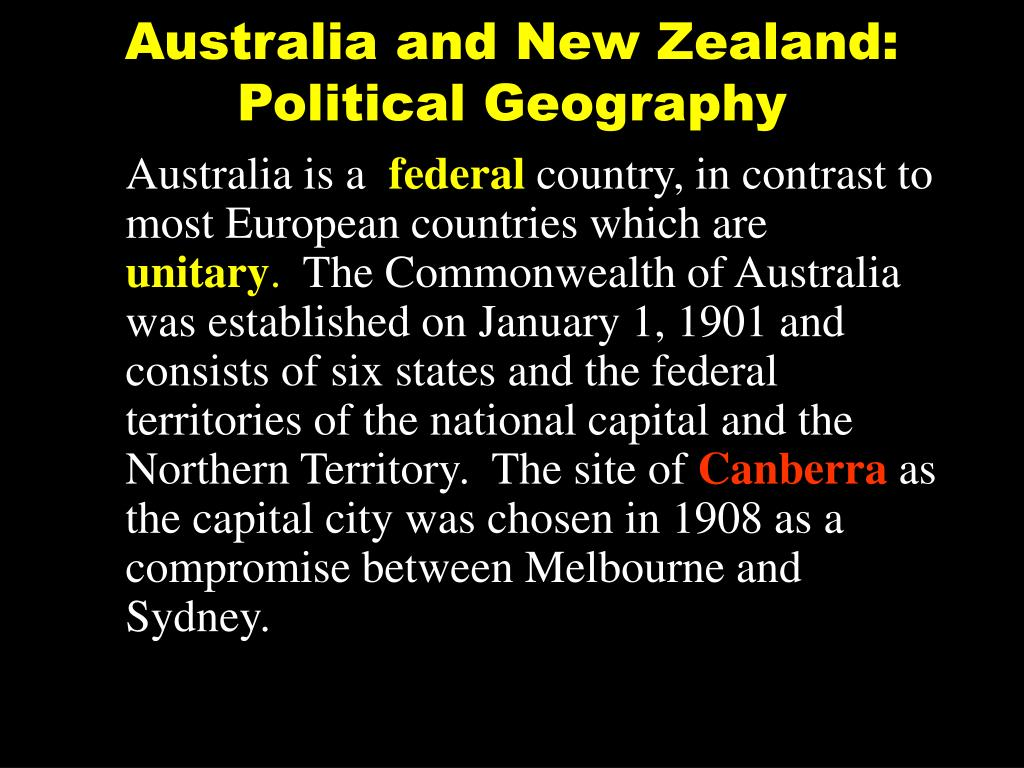 Australia and New Zealand: Political Geography