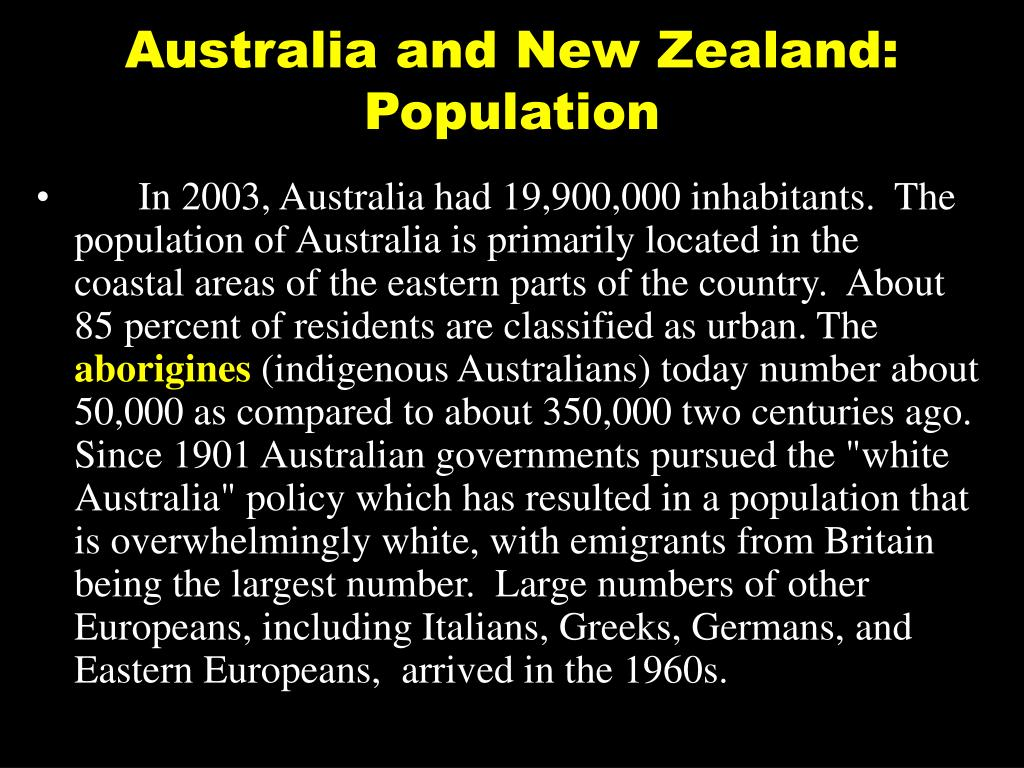 Australia and New Zealand: Population