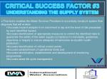 critical success factor 3 understanding the supply system