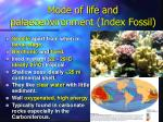 mode of life and palaeoenvironment index fossil