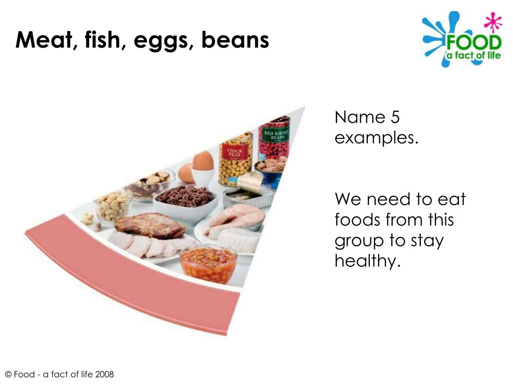 Meat, fish, eggs, beans