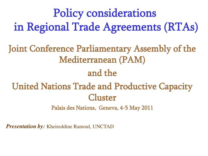 policy considerations in regional trade agreements rtas n.