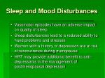 sleep and mood disturbances