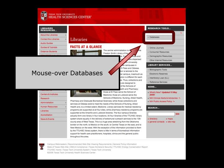 Mouse-over Databases