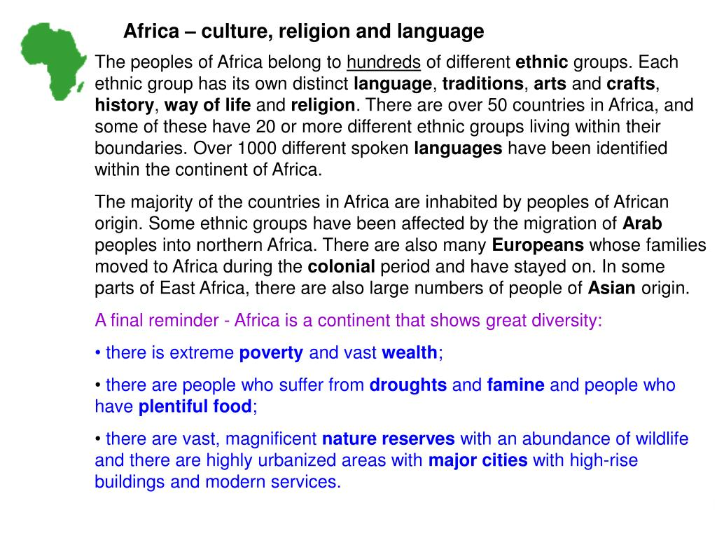 Africa – culture, religion and language