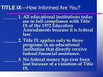title ix how informed are you