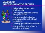 values of interscholastic sports