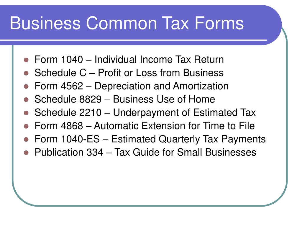 Business Common Tax Forms